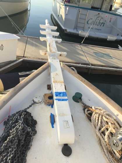 The resting bowsprit. Notice the discoloration from the metal straps and fasteners. It will all cleanup nicely.
